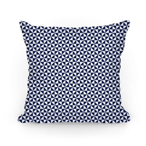 Navy Pinwheel Pattern Pillow