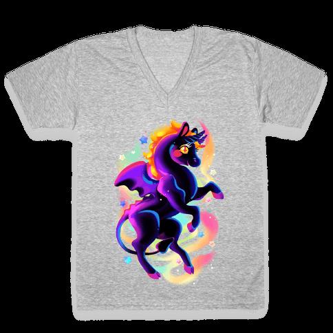 Neon Rainbow Jersey Devil V-Neck Tee Shirt