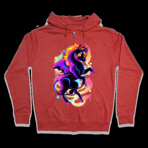 Neon Rainbow Jersey Devil Zip Hoodie