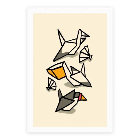 Nautical Origami Seabirds Poster