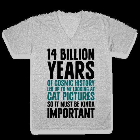14 Billion Years of Cosmic History V-Neck Tee Shirt