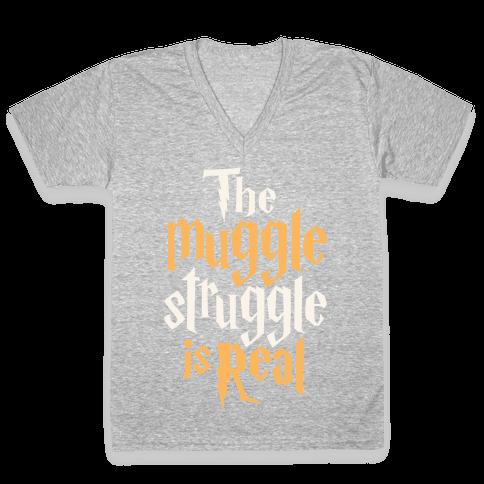 The Muggle Struggle Is Real V-Neck Tee Shirt