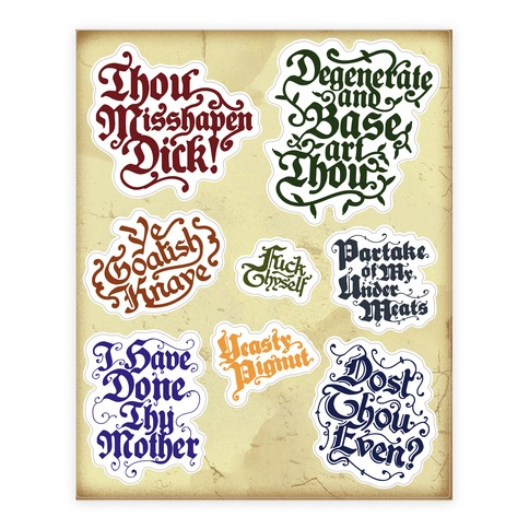 Olde English Insults Sticker and Decal Sheet