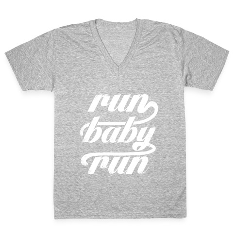 Run Baby Run (White Ink) V-Neck Tee Shirt