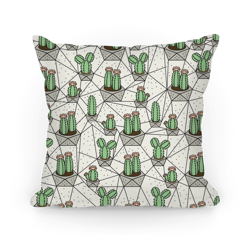 Geometric Cactus Pattern Pillow