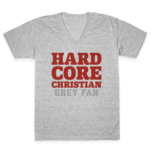 Hardcore Christian Grey Fan V-Neck Tee Shirt