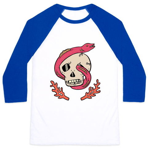 Skull and Coral Crossbones Baseball Tee