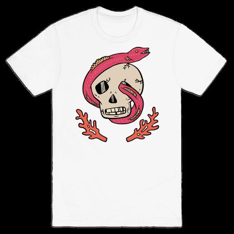 Skull and Coral Crossbones Mens T-Shirt