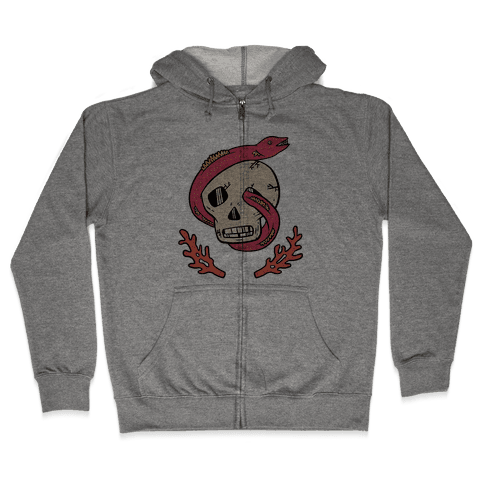 Skull and Coral Crossbones Zip Hoodie