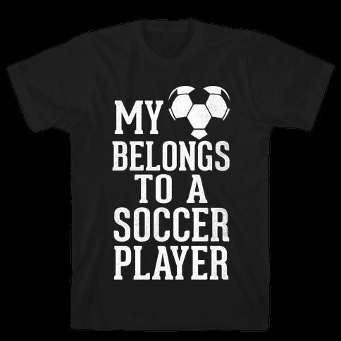 My Heart Belongs To A Soccer Player (Dark Tank) Mens T-Shirt