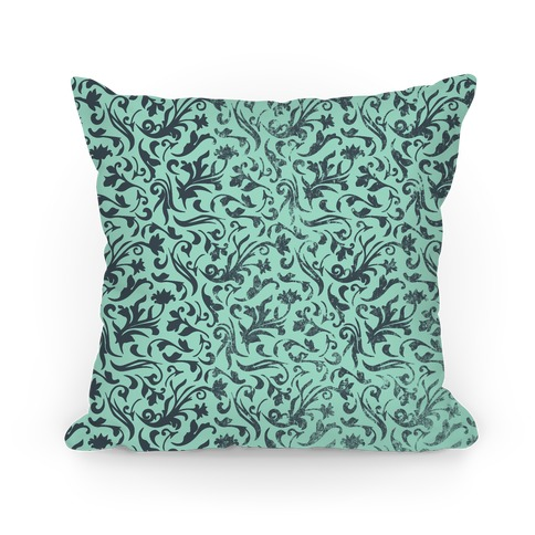 Green Medieval Flower Pattern Pillow