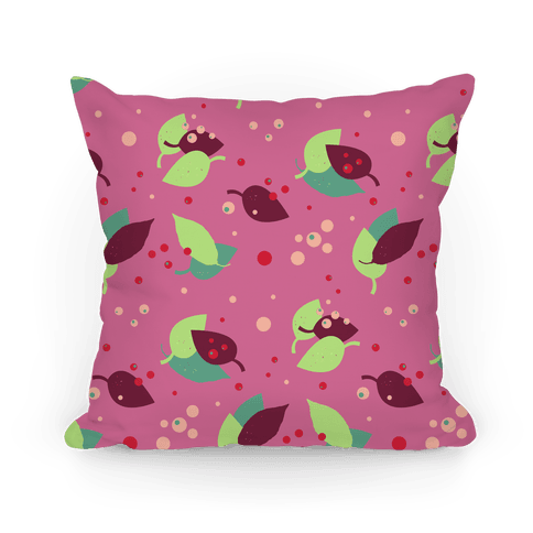 Pink Forest Floor Leaves Pattern Pillow