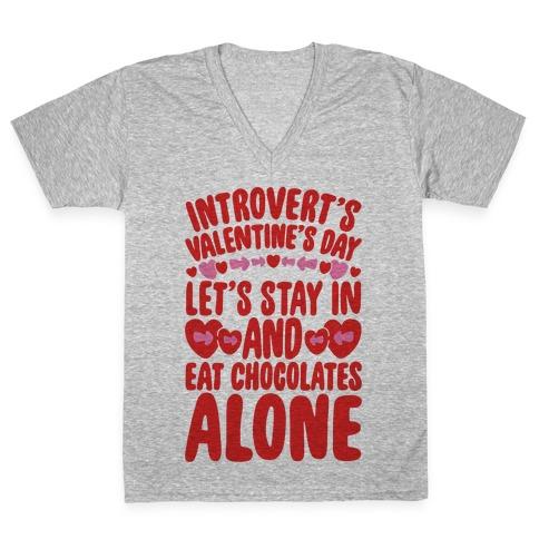 Introverted Valentine V-Neck Tee Shirt