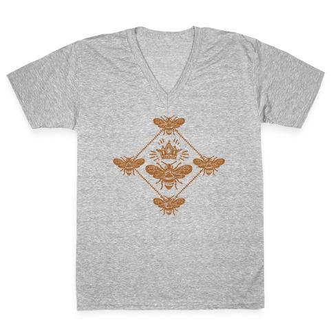 Regal Golden Honeybee V-Neck Tee Shirt