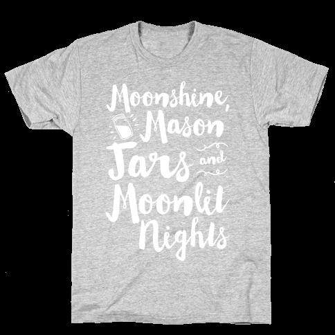 Moonshine, Mason Jars and Moonlit Nights Mens T-Shirt