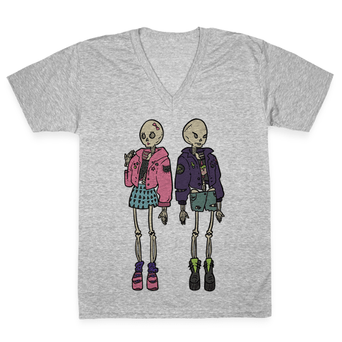 Skeleton Girls V-Neck Tee Shirt