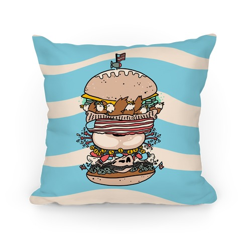 'Merican Double Decker Declaration of Food Freedom Burger Pillow