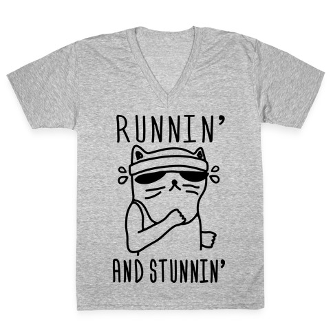 Runnin' And Stunnin' Cat V-Neck Tee Shirt