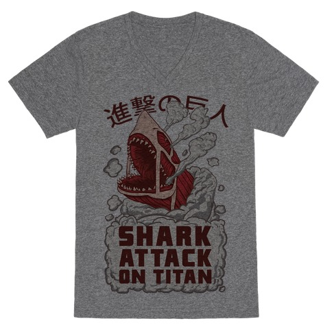 Shark Attack On Titan V-Neck Tee Shirt