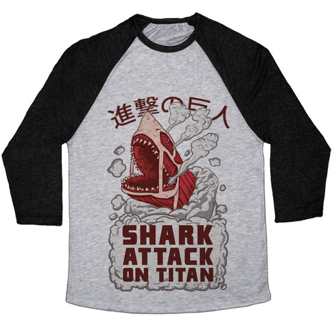Shark Attack On Titan Baseball Tee