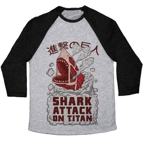 Shark Attack On Titan Baseball Tee