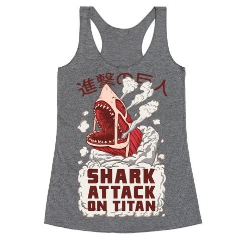 Shark Attack On Titan Racerback Tank Top