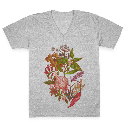 Chef's Botanical Herbs and Spices V-Neck Tee Shirt