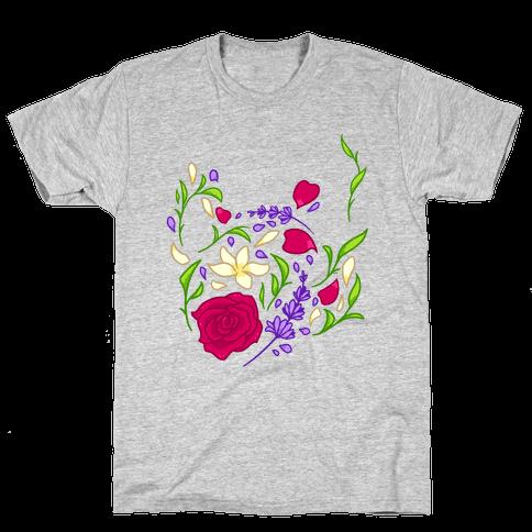 Floral Teapot Mens T-Shirt