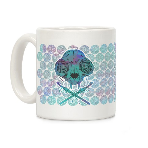Cat Skull & Crochet Hooks Coffee Mug
