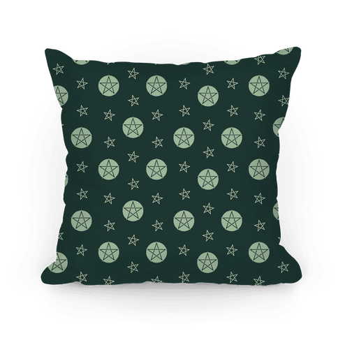 Green Wicca Pentacle Pattern Pillow