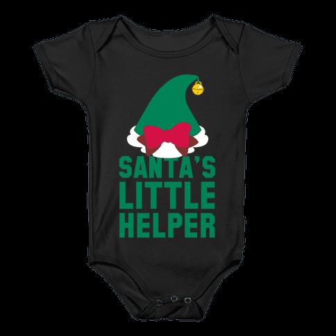Santa's Little Helper (White Ink) Baby Onesy