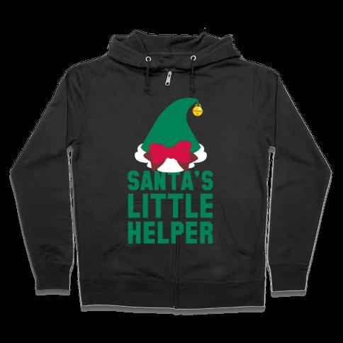 Santa's Little Helper (White Ink) Zip Hoodie