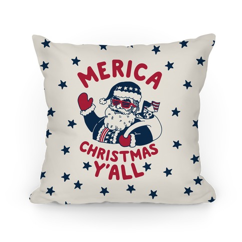 Merica Christmas Y'all Pillow