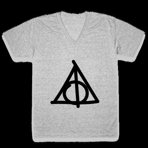 Deathly Hallows Doodle V-Neck Tee Shirt