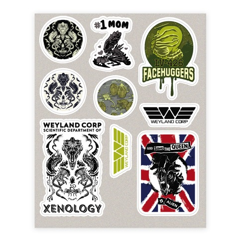Xenomorph Parody Sticker and Decal Sheet