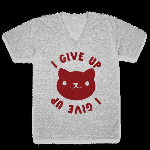 I Give Up Cat V-Neck Tee Shirt