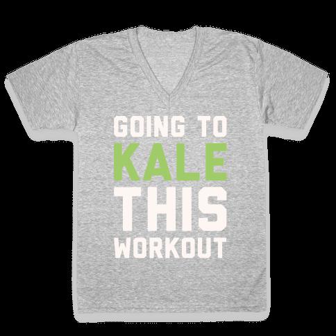 Going To Kale This Workout White Print V-Neck Tee Shirt