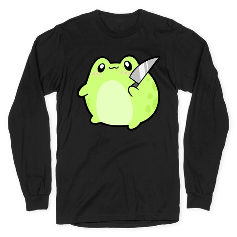 Cute Froggie With A Knife Long Sleeve T-Shirt