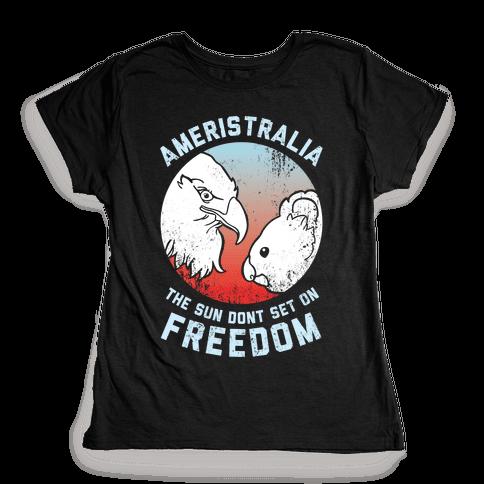 The Sun Dont Set On Freedom (Patriotic Ameristralia) Womens T-Shirt