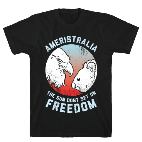 The Sun Dont Set On Freedom (Patriotic Ameristralia) Mens T-Shirt