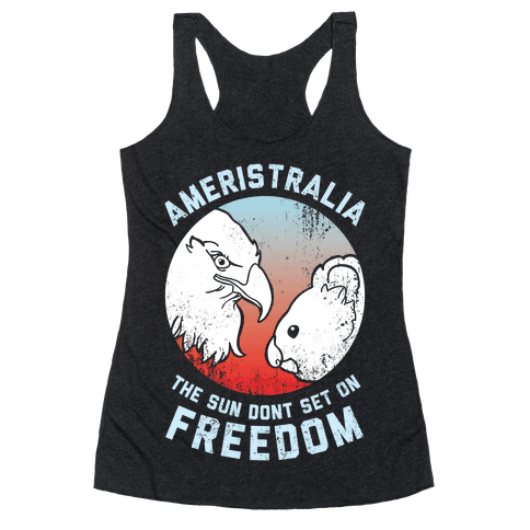 The Sun Dont Set On Freedom (Patriotic Ameristralia) Racerback Tank Top