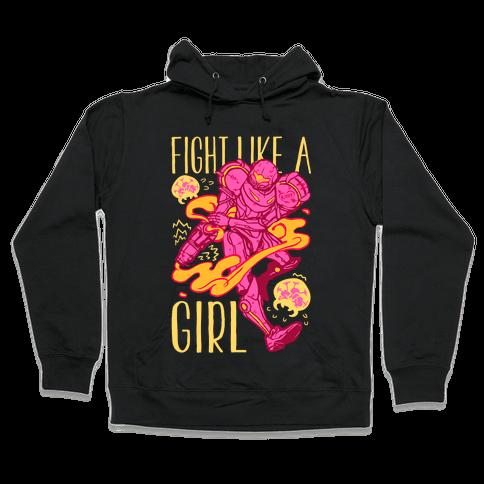 Fight Like A Girl Samus Parody Hooded Sweatshirt