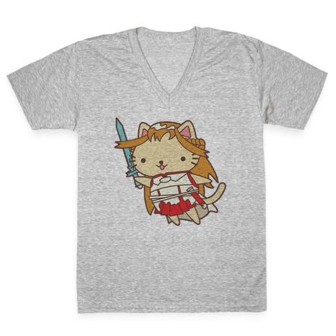 Cat Cosplay Asuna V-Neck Tee Shirt