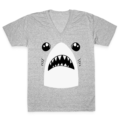 Left Shark Face V-Neck Tee Shirt