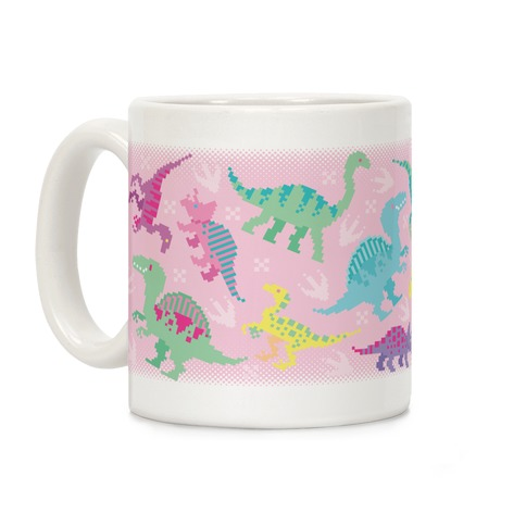 Cute Pastel Pixel Dinosaurs Coffee Mug