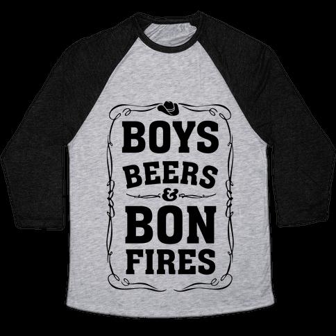 Boys Beers & Bonfires Baseball Tee