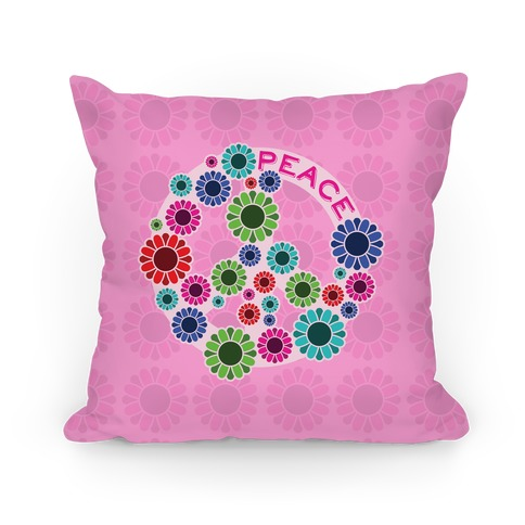 Floral Peace Sign Pillow