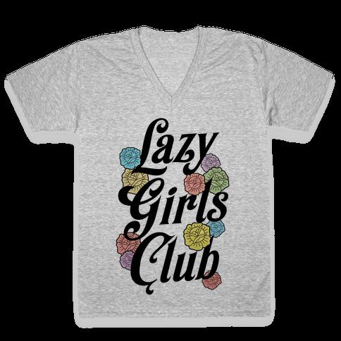 Lazy Girls Club V-Neck Tee Shirt