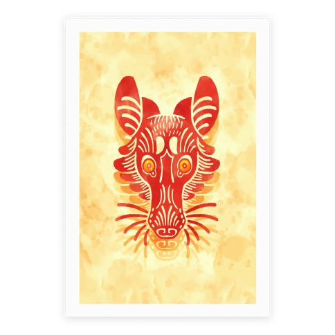 Symmetrical Gilded Fox Poster