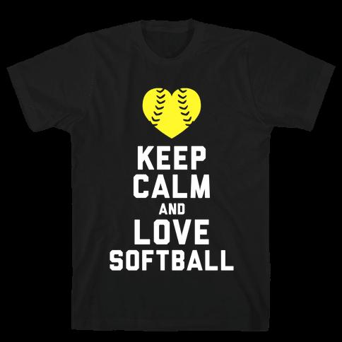 Keep Calm and Love Softball (Tank) Mens T-Shirt